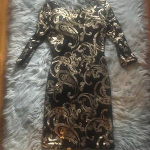 Black and Gold Sequins Dress